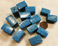 "16"" Strand RESIN BEADS-RECTANGLE CUBE 23mmx15mmX15mm TURQUOISE W/MATRIX"