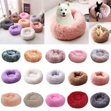 Pet Kennel Calming Bed Round Nest Warm Soft Plush Comfortable Sleeping Mat LOT