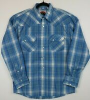 Double S Mens Size Large Western Pearl Snap Long Sleeve Shirt Plaid Blue White