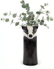 More details for quail ceramics badger flower vase 27cm tall black and white animal print pottery
