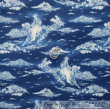 BonEful Fabric Fq Cotton Quilt Blue Vtg Cowboy Denim Tone Mountain Scenic Toile
