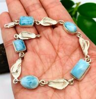 GENUINE Caribbean Larimar Bracelet 925 Sterling Silver Exclusive Design - P45