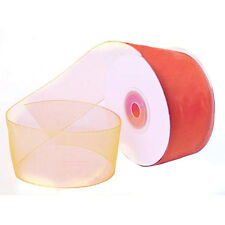 "1/4"" Plain Sheer Organza Nylon Ribbon 25 Yards - Coral"