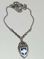 Art Deco Silber Collier 925 Silber um 1920/30 blauer Spinell Markasiten /A436