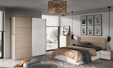 Lote muebles dormitorio matrimonio 150 cm color blanco y nature con somier