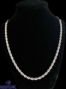 """Men's Women's 14k White Gold 20"""" 5mm rope chain necklace"""