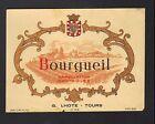 """TOURS (37) ETIQUETTE chromo ANCIENNE de VIN BOURGUEIL """"G. LHOTE"""""""