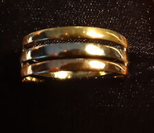 14k gold 3 color wedding band ring,  tri gold, size 11 3/4