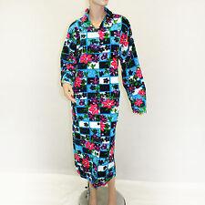 NEW Firat Plus Floral Blue Button Down Velvet Cotton Plush Robe 5XL fits 3X