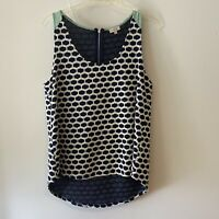 Pixley Stitch Fix Womens Sleeveless Tunic Top Shirt Navy Blue Pattern Medium