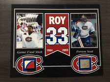 PATRICK ROY MONTREAL CANADIENS GAME USED STICK AND FORUM SEAT 8 X 10 COA