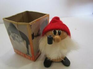 Vintage Tenyo Japan Wooden Smoking Doll Troll Gnome Pipe Elf Boxed