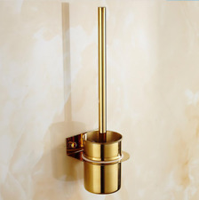 Gold Stainless Steel Toilet Brush+ Holder Set Wall Mounted Bathroom Cleaner Kit