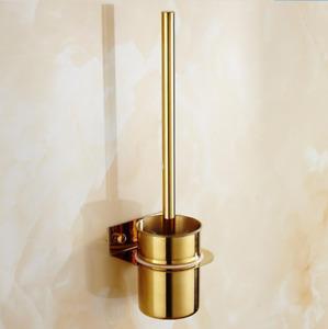 Gold Stainless Steel Toilet Brush+ Holder Set Wall Mounted Bathroom Cleaner Kit