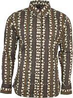 Run & Fly Mens 70's Circle Print Long Sleeved Shirt Geometric Retro Psychedelic