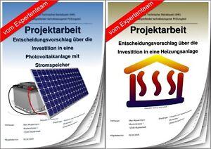 Projektarbeit Technischer Betriebswirt & Präsentation IHK Investition Energie