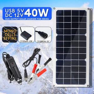40W Solarzelle Solarpanel Solarmodul Ladegerät USB für Auto Boot Wohnwagen Set