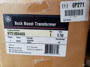 G.E. .75 KVA 1 Phase 120/240x12/24 Volt BuckBoost Transformer (NEW)