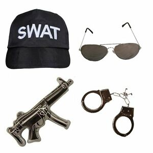ADULT UNISEX SWAT POLICE SET GREAT FOR COPS & ROBBERS FANCY DRESS PARTY