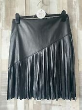 River Island Black Tassel Fringed Faux Leather Skirt Size 10