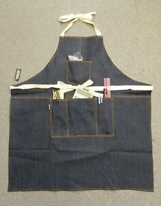 Unisex Pockets Denim Full Apron Chef Barista Florist Workwear Painter #AP-001