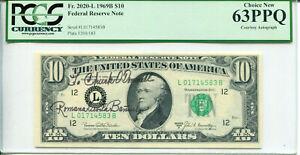 1969-B $10 FRN Courtesy Autograph Romana A Banuelos L01714583B PCGS 63PPQ