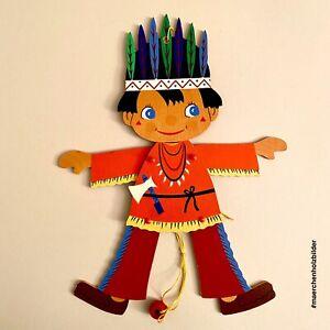 Holz-Hampelmann ALT 1970er 26cm Mertens-Kunst (Deckname) Indianer Kind Vintage