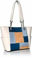 Calvin Klein Saffiano Cork Patchwork Key Items Tote Denim plus Dust Bag NWT