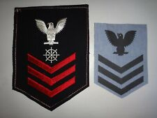 2 US Navy Chevrons: Petty Officer 1st Class QUARTERMASTER Specialty Mark + E-6