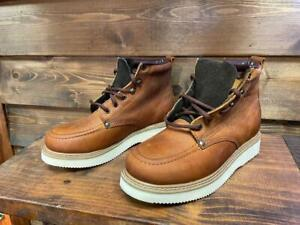 Men's Genuine Leather Lace Up Moc Work Boot Soft Toe Wedge Sole 2100