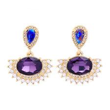 Boucles d`Oreilles Clous Doré Ovale Goutte Opale Violet Bleu Retro BB18