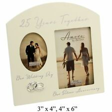 25TH ANNIVERSARY SILVER WEDDING CREAM PHOTO FRAME - 25 YEARS TOGETHER AMORE