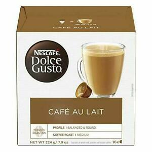 Nescafe Dolce Gusto CAFE Au Lait (Pack of 3, Total 48 Capsules) EXP:11/ 2020