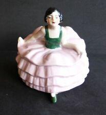 Cute 30s ballerina girl in a pink tutu powder jar / box, half doll related