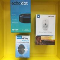 Negro Amazon Echo Lunares + Tp-Link HS100 Inteligente Enchufe + Soporte de Pared