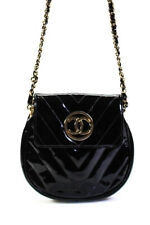 Chanel Womens Vintage Quilted Patent Leather Gold Tone Crossbody Handbag Black