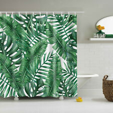 Leaf Print Fabric Bathroom Shower Curtain Sheer Panel Decor with 12 Hooks