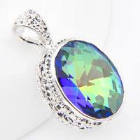 Super Huge Natural Handmade Rainbow Mystic Fire Topaz Silver Necklace Pendants
