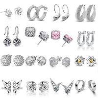 Clear Crystal Elegant Women 925 Sterling Silver Plated Ear Stud Earrings Jewelry