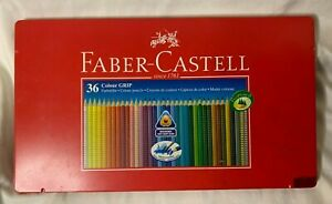 34 Pre-owned Faber-Castell Colored Pencils w/ Tin Triangle Shape Soft Grip Zone
