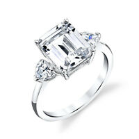 925 Sterling Silver Engagement Wedding Ring Emerald Cut Modern Contemporary CZ