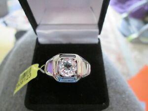 Mens White Topaz Platinum Bond Ring TGW 2.35 cts.