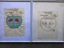 2 planches originales signées POUPON, encre et aquarelle, papier, BD, dessin