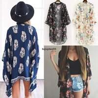Boho Women Chiffon Floral Kimono Cardigan Loose Cape Shawl Tops Blouse Tee OO55