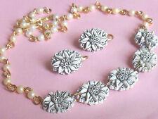 Cool Carved Celluloid 1950's vintage B/W Flower earring necklace set demi parure