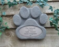 Dog Paw Stone Memorial with Silver Plaque for Garden or Fence