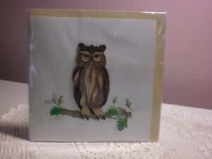 Quilling Cards LLC - 3D Great Horned Owl Note Card