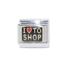 I Love to shop black Italian Charm - fits 9mm Nomination classic bracelets