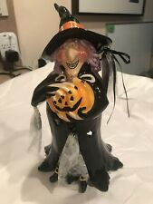Nwt Blue Sky Clayworks Goldminc Halloween Witch Griselda Light Up Room Tealight