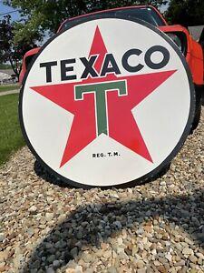 Texaco Porcelain Enamel sign! HUGE 4 feet! DOUBLE SIDED